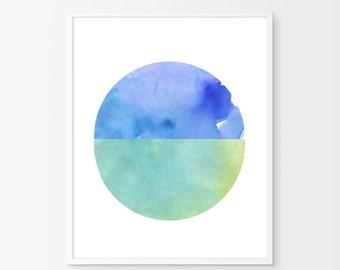 Watercolor painting, Blue watercolor, Geometric art, Mint wall art, Large art print, Circle art, Circle print, Minimalist art, Nursery print