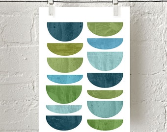 Scandinavian art, Geometric print, Blue Green Wall art, Modern Art, Mid Century Modern art, Abstract Watercolor, Marble Print, Textured art