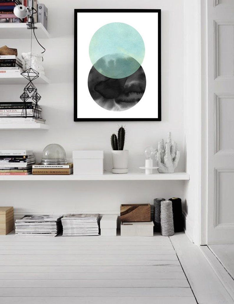 Abstract Watercolor Minimalist Art Green Wall Art Home Decor Circle Art Abstract Print Geometric Print Large Wall Art Modern Art