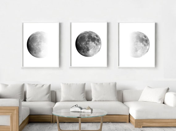 Moon Phases Print Set of 3 Black and White Wall Art Minimalist | Etsy