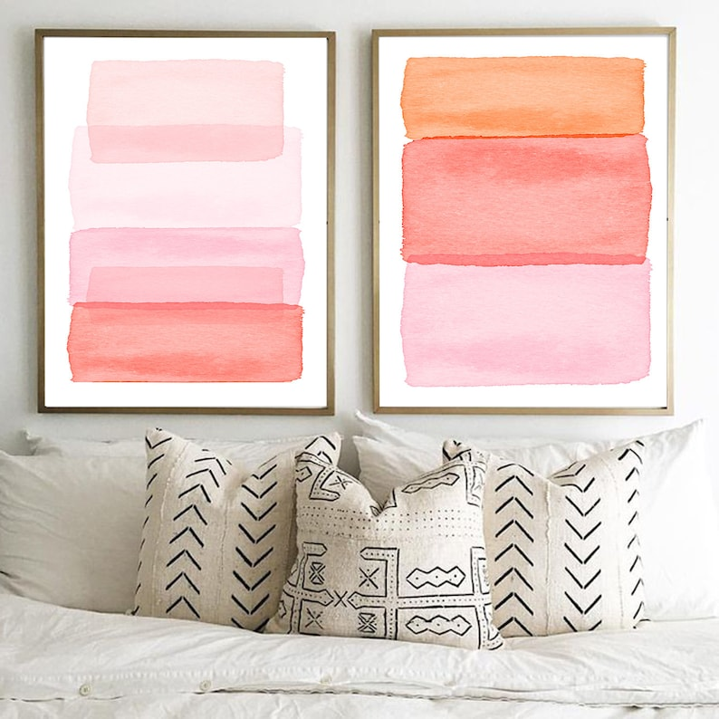Abstract Watercolor Paintings Set of 2 Pink Blush Rose Peach image 0