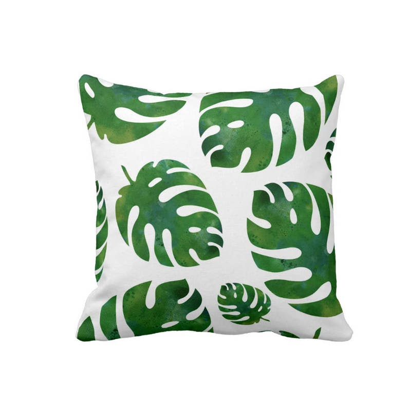Monstera Leaf Pillow Tropical Pillow Leaves Foliage Botanical image 0