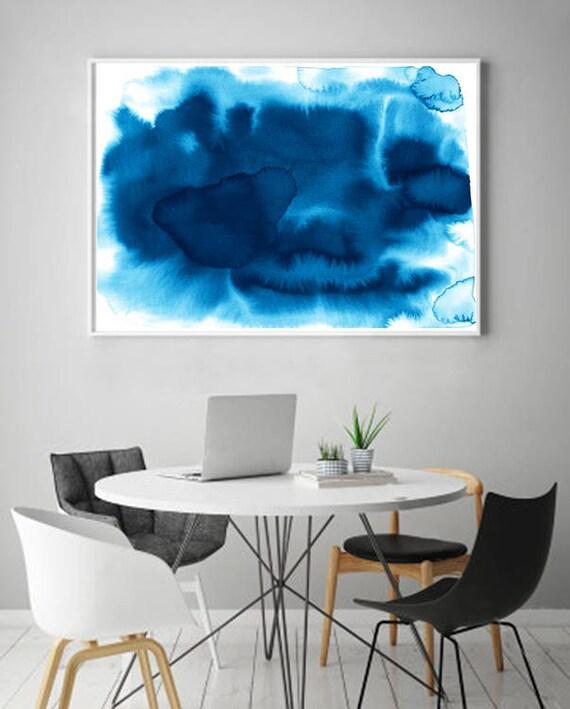 Aquarelle Impression Indigo Bleu Marine Peinture Murale Art Art Minimaliste Boho Home Decor Minimal Art Scandinave Grand Abstrait Moderne Abstrait