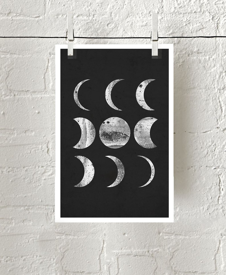 752f95758 Moon Phase Print Minimalist Poster Black White Wall Art | Etsy