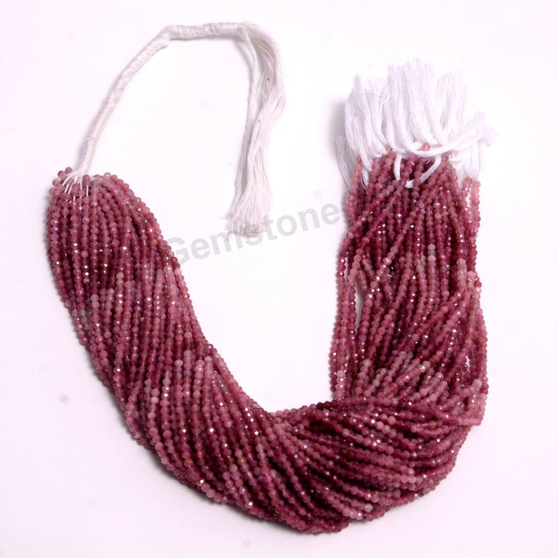 2mm and 2.5mm Natural Shaded Pink Tourmaline Bead Gemstone machine cut Beads Full 13 Inch Strand Faceted RondelleNearly Round Bead