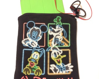 DISNEY MICKEY & FRIENDS T-Shirt Pouch. Mickey Mouse T-shirt Bag. Upcycled disney t-shirt bag.