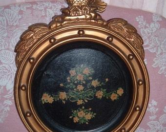 Vintage Gold Eagle Frame with Black Flower Tin Tray