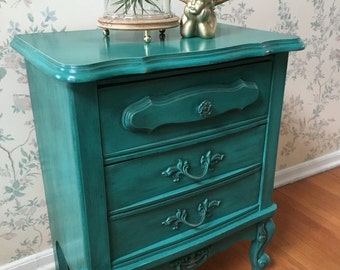 green painted furniture. Nightstand,Accent Table,Upcycled Furniture,Painted Furniture,Distressed Furniture,Repurposed Furniture,Vintage Furniture,Furniture Green Painted Furniture