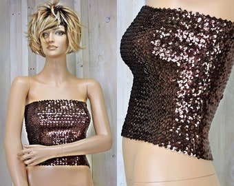 2c7cfb16d11 Bronze sequined tube top s m   evening sexy glam bling