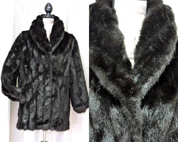 Black Faux fur coat size M 8  12 / vintage 80s  fa