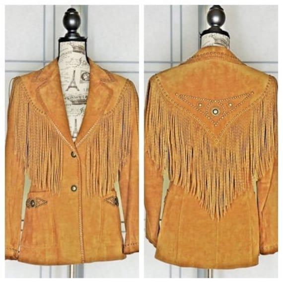 Vintage 90s fringed leather jacket / size S / sout