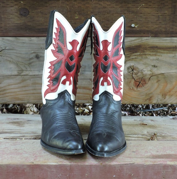 Cowgirl boots 9 /  Leather black red white cowboy