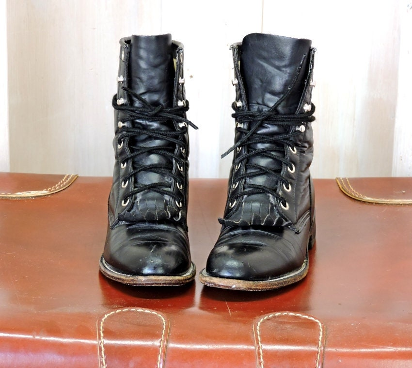 364b98319d6 Womens roper boots US 5 / EU 35 / vintage Justin black leather ropers /  cowgirl / lace up / western ankle boots / lacers
