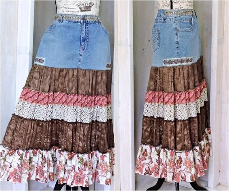 b25731f291 Denim maxi skirt size L 12 14 / hippie festival broomstick | Etsy