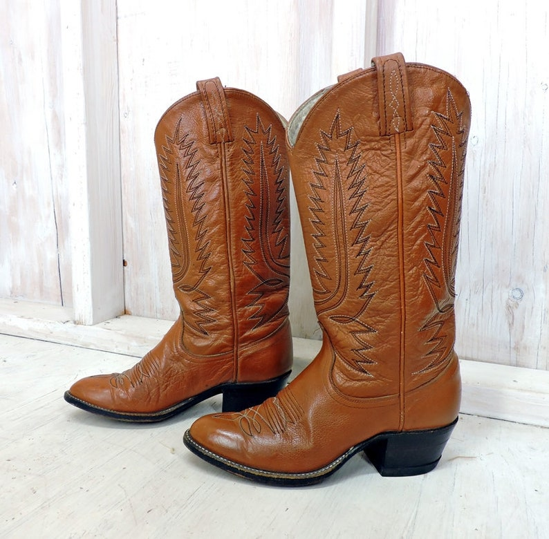 3b931ed546b Cowgirl boots 6.5 / Vintage 80s Dan Post boots / womens brown leather  western boots