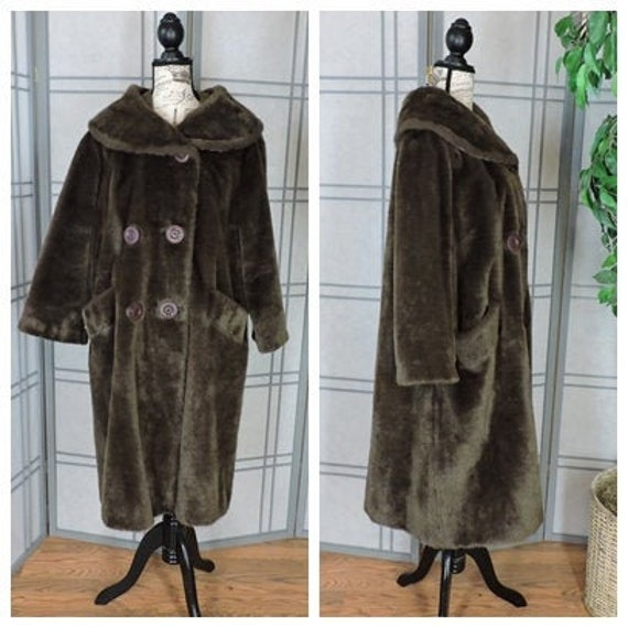 Vintage 60s faux fur coat size M   / swing coat /