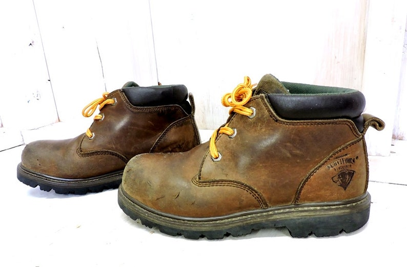 3273704d6c8 Vintage Herman Survivors boots / mens 7.5 US / chuck work boots / brown  leather / hunting / outdoor / logger boots