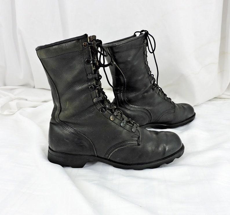 d7b7ec77c0c27 Vintage 80s Military Combat boots Mens 9.5 R / RO Search boots 7 - 88 /  black leather boots