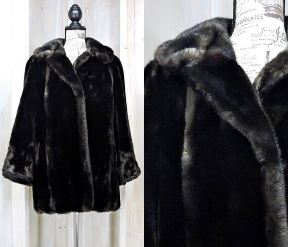 Faux fur coat size M / vintage 80s sable brown fak