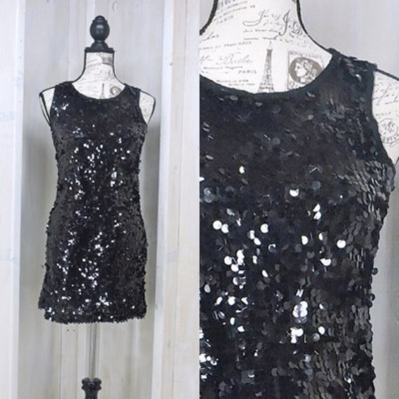 Black Sequin Dress Size Xs S 90s Sexy Sequined Dress Party Etsy