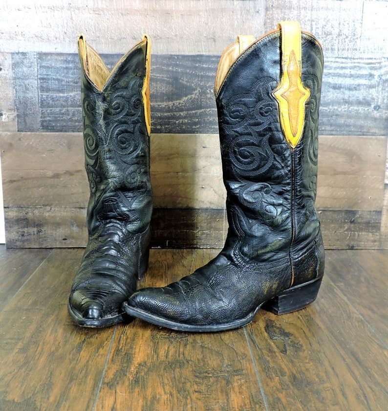 e97b6996cd1 Los Altos Boots 8.5 Mens / vintage ostrich leg handmade cowboy boots /  exotic leather boots