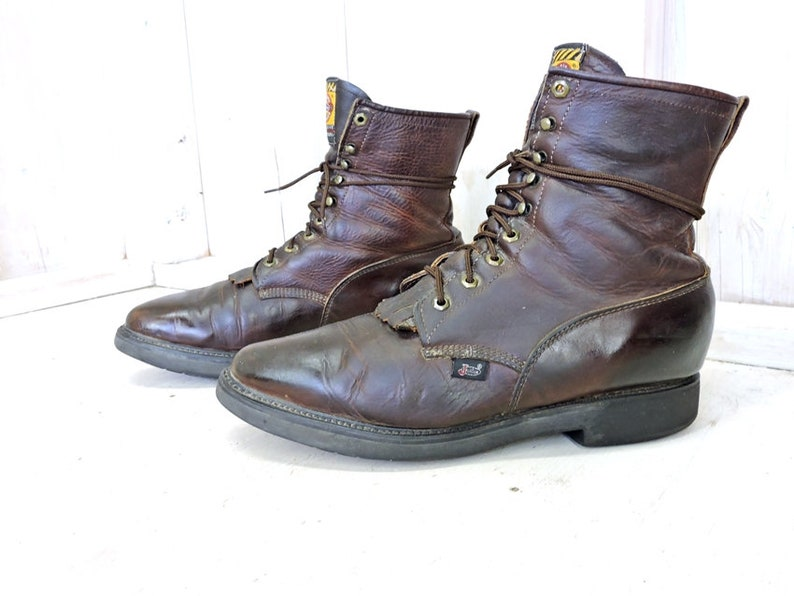 3cf4dec49f1ef Justin roper boots 13 EE mens / Vintage Justin cowboy work boots / Lacers /  made in USA / brown leather western boots / Rugged and Tough