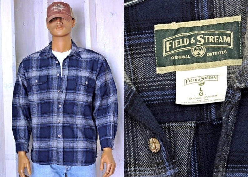 Vintage Field and Stream  Heavy cotton flannel shirt  size  M L  90s blue gray plaid flannel  hunting  fishing  rugged outdoors wear