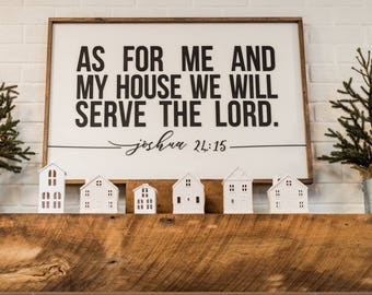 As For Me and My House we Will Serve the Lord Laser 3D letters Wood Sign Farmhouse Decor Wall Decor Farmhouse Mantle Bible Verse Joshua 24