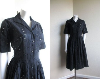 85480a113dfd vintage 1950s Cay Artley black eyelet shirt dress / 50s summer fit and flare  dress / broderie anglais dress - s/m