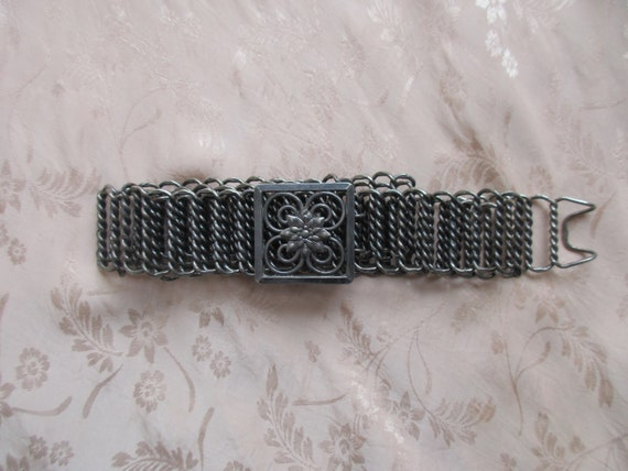 1930s Siam silver Art Deco adjustable link belt /