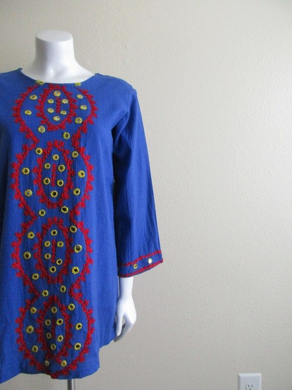 1970s hand woven India cotton tunic top / 60s mirr