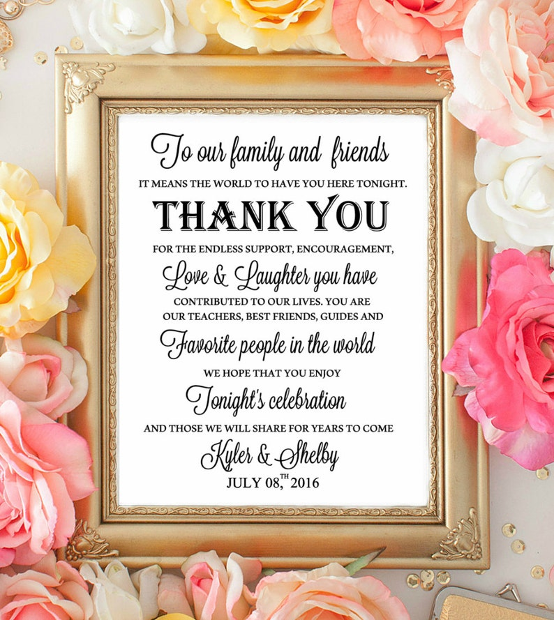 Wedding Table Sign Welcome  Thank you Signs. To our Family image 0