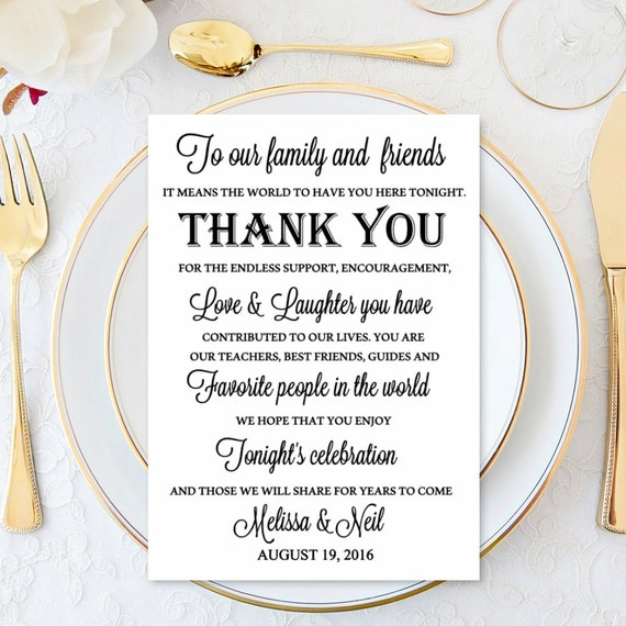 Welcome Wedding Thank You Cards Wedding Table Reception Thank Etsy