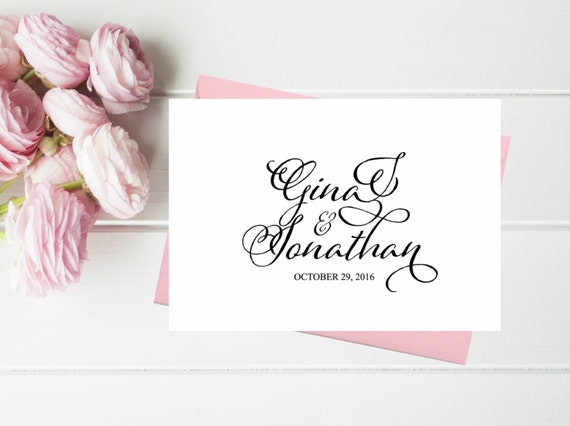 Personalized Wedding Thank You Card Set Thank You Cards Etsy