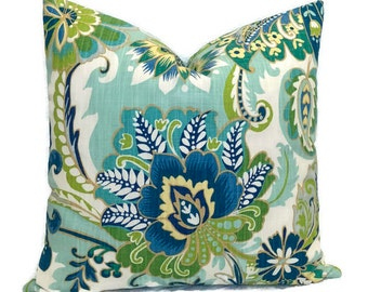 blue and green throw pillows. peacock color pillow blue green lagoon floral throw decorative cushion cover cottage country decor richloom ayers // all sizes and pillows