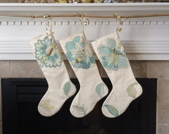 farmhouse christmas stockings muslin applique stocking country cottage blue green decor jingle bell trim holiday decor christmas gift - Coastal Christmas Stockings