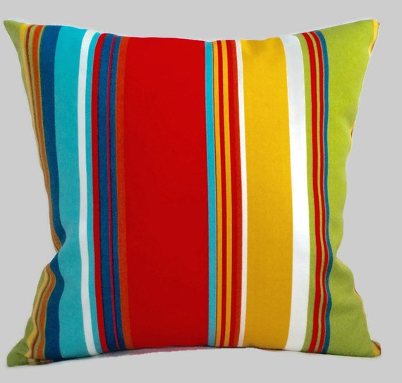 Striped Outdoor Throw Pillow Cushion Cover Green Yellow Red Etsy