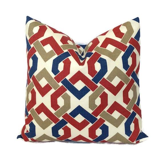 Nautical Knot Outdoor Solarium Blue Tan Red Throw Pillow