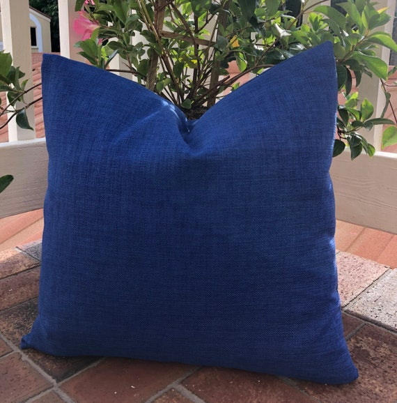 Solid Chambray Pillow Solid Blue Lumbar