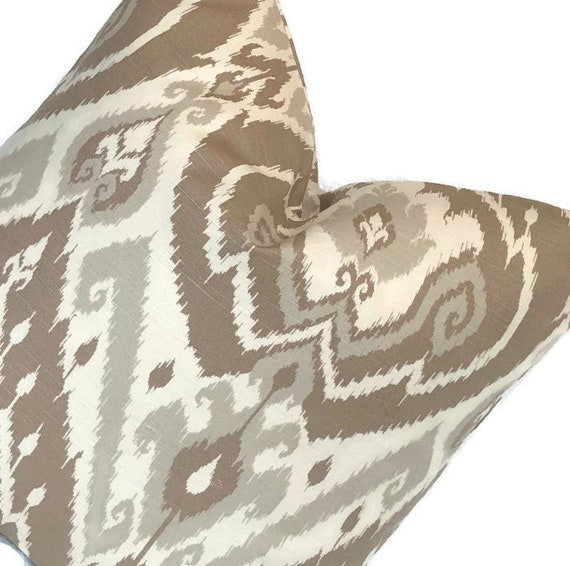 Stupendous Brown Ikat Designer Throw Pillow Cushion Cover Ballard Designs Designer Pillow Taupe Cream Decorative 18X18 20X20 22X22 24X24 Euro Lumbar Gmtry Best Dining Table And Chair Ideas Images Gmtryco