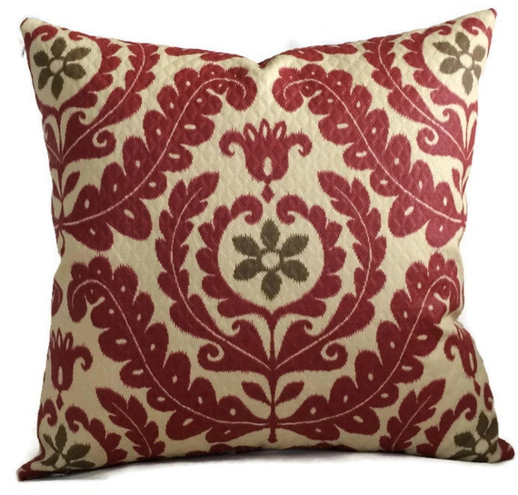 Red Brown Outdoor Farmhouse Jacquard Pillow Cover Cottage Etsy