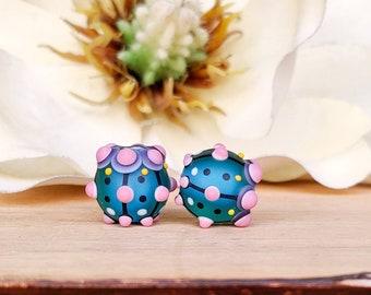 Pair of Murano glass lampwork beads, earing bead pair, murano glass beads, lampwork glass beads,