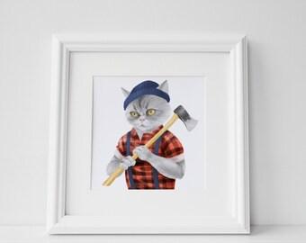 Printable Lumberjack Cat Kitten Print Instant Download Digital File Decor Room Wall Art Poster 10x10 12x12