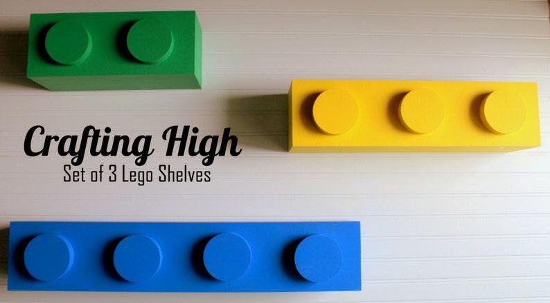 Zestaw 3 Półek Inspirowanych Klockami Lego