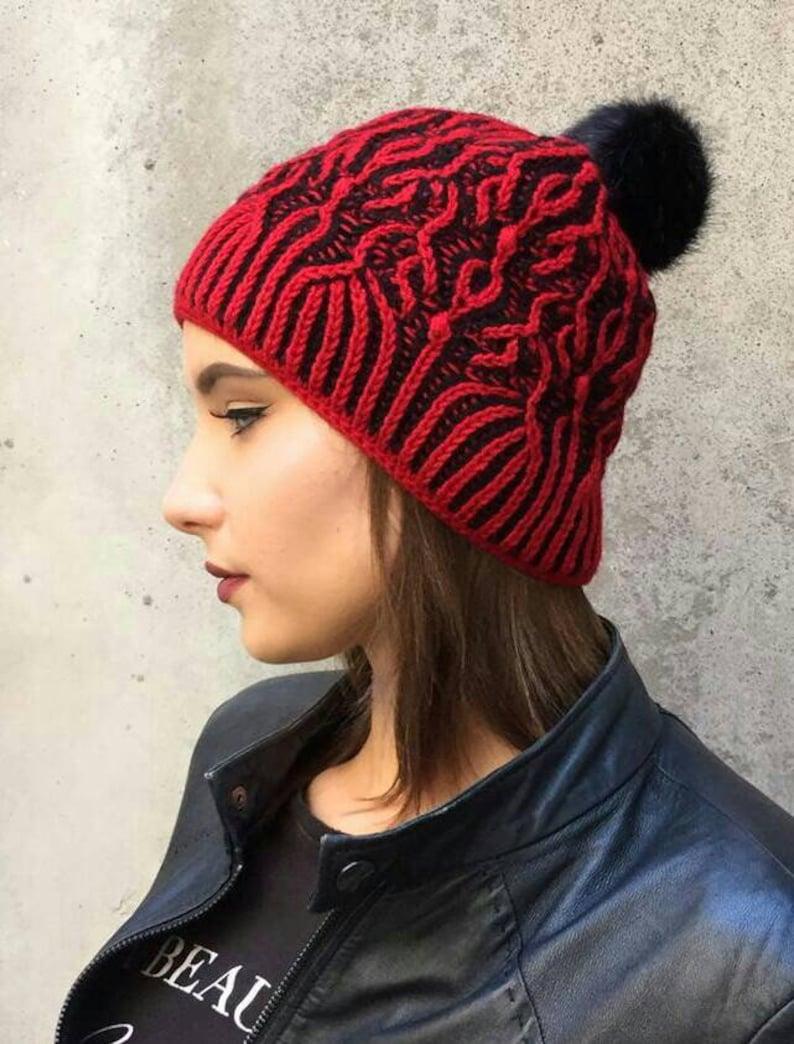 6ceb5aa77ec Women s knit hat hand knit brioche hat red black