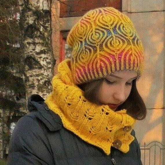 Wintermütze stricken Brötchen Hut Mode Kunst stricken | Etsy