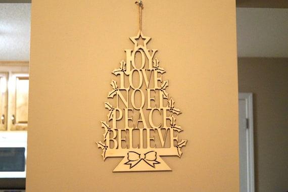 wooden laser cut christmas decoration joy love noel peace believe merry christmas ornament door wreath flourish wood garnish - Wooden Laser Cut Christmas Decorations