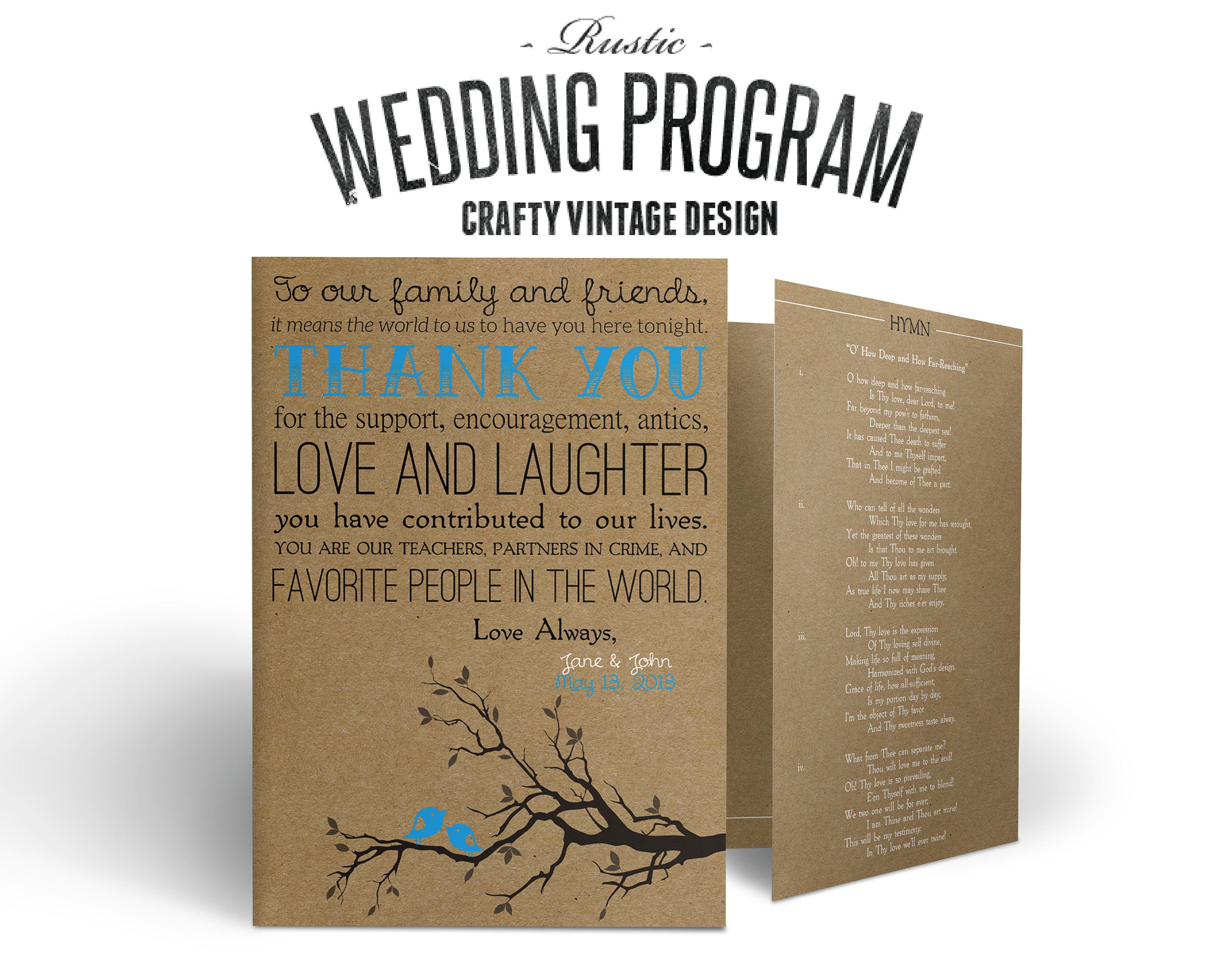 rustic wedding program crafty vintage bi fold we make it you