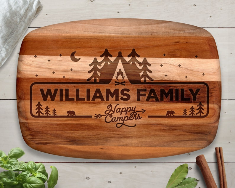 Camping Camping Decor Personalized Cutting Board Teak Wood image 0