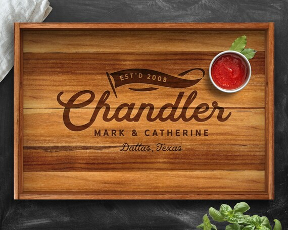 Personalized Tray Teak Kitchen Gift Gift For Men Custom Tray Husband Gift Christmas 2018 Gifts For Him Wedding Anniversary Tray